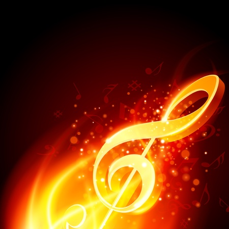 Music note burn in fire background Vector