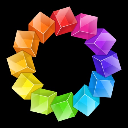 Color wheel 3d from cubes illustration Vector