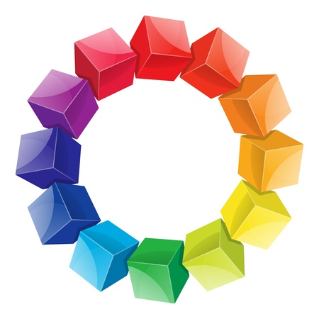 descriptive colors: Color wheel 3d from cubes illustration