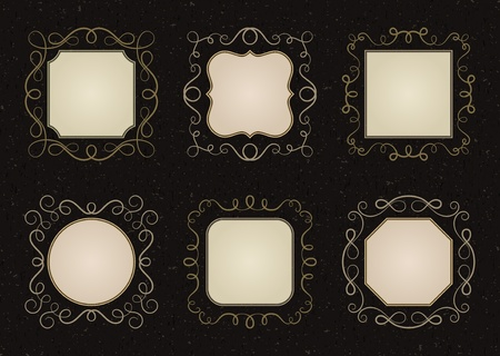 Set vintage frames background Vector