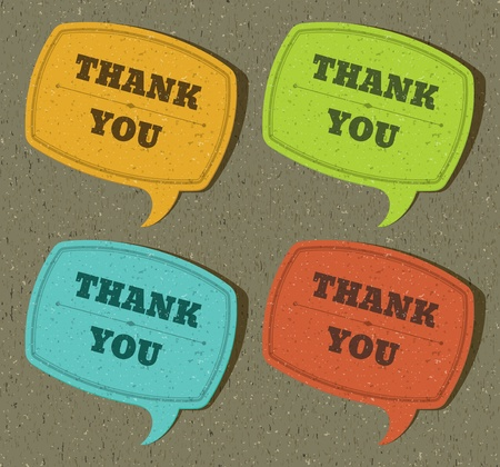 Vintage speech bubble with thank you message set on old textured paper. Stock Vector - 11038202
