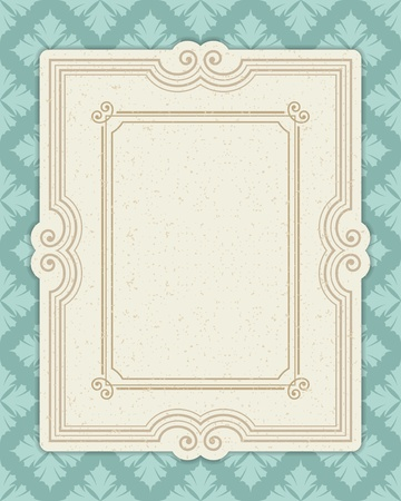 Vintage invitation greeting card with ornament and old textured pattern. Vector