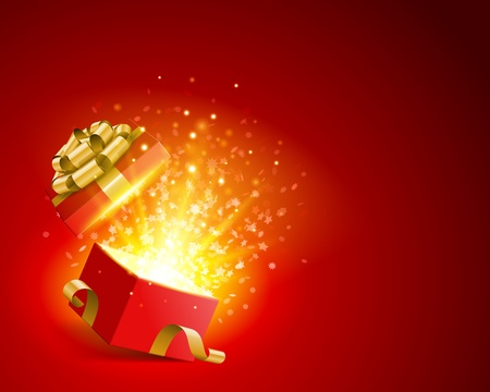 present presentation: Open gift with fireworks from light background