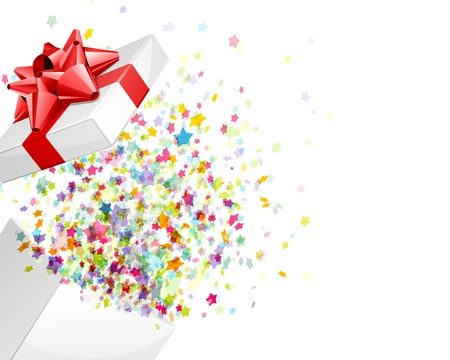 present presentation: Open gift with fireworks from confetti background
