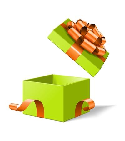 Boîte-cadeau ouvert avec arc isolé sur blanc illustration