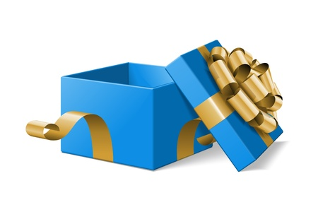 Open gift box with gold bow isolated on white illustration