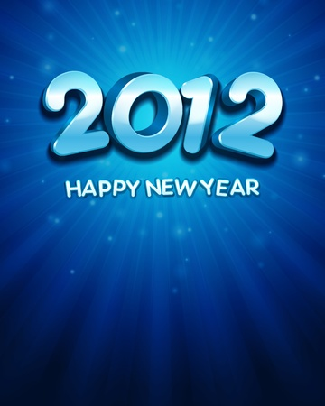 2012 Happy New Year 3d message background Stock Vector - 11324279