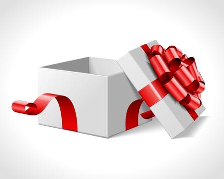 offen: Offene Geschenk-Box mit roter Schleife auf weißem