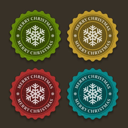 Christmas labels set with snowflake shape illustration Stock Vector - 11324282