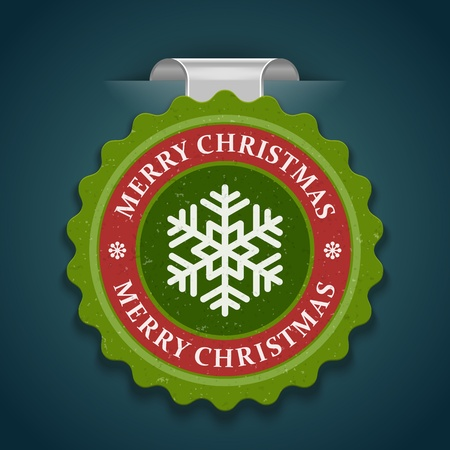 Christmas label with snowflake shape illustration Stock Vector - 11324255