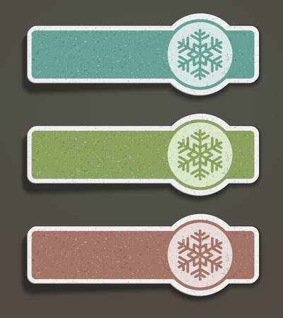 Christmas labels set with snowflake shape illustration Stock Vector - 11324258