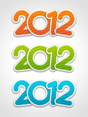 Happy new year 2012 3d message applique design elements set Stock Vector - 11324268