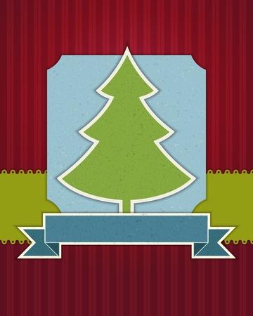 Christmas tree applique background Vector