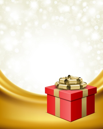 Gift box with ribbon on curtain and light background Vector