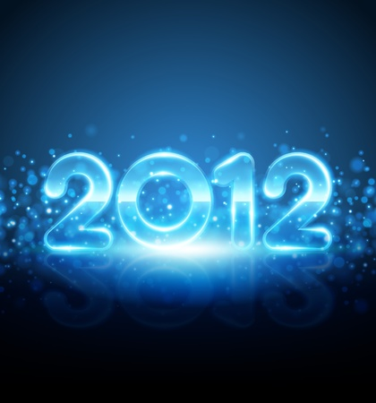 Happy new year 2012 message from neon background Vector