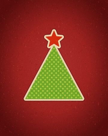 Christmas applique with tree background Vector