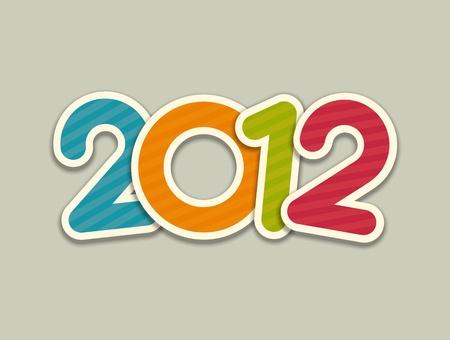 Happy new year 2012 3d message applique design element Stock Vector - 11324235