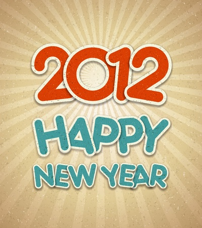 Happy new year 2012 3d message applique background Stock Vector - 11324333