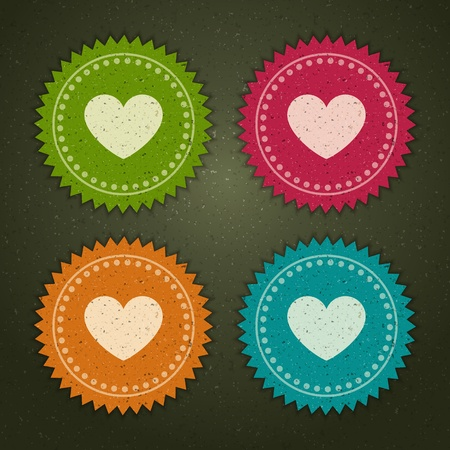 Retro labels set with heart shape illustration Stock Vector - 11324317