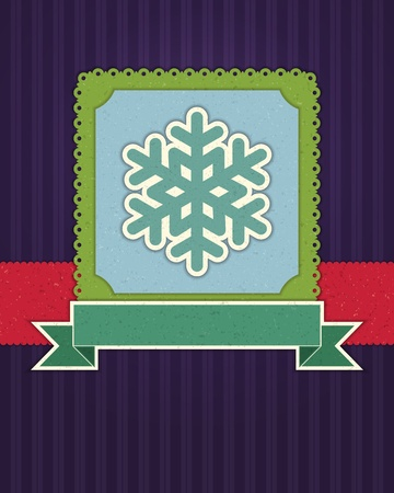 Christmas applique with snowflakes background Vector