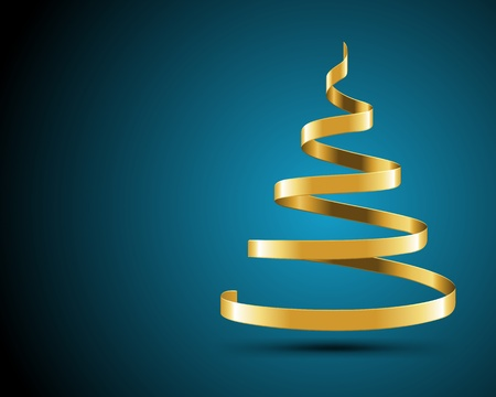 Christmas tree from gold ribbon vector background Vector
