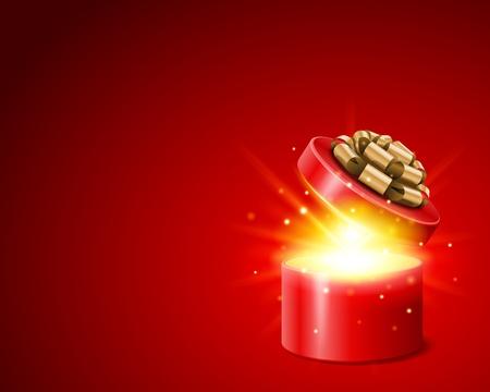 Open geschenk met vuurwerk van lichte achtergrond Vector Illustratie