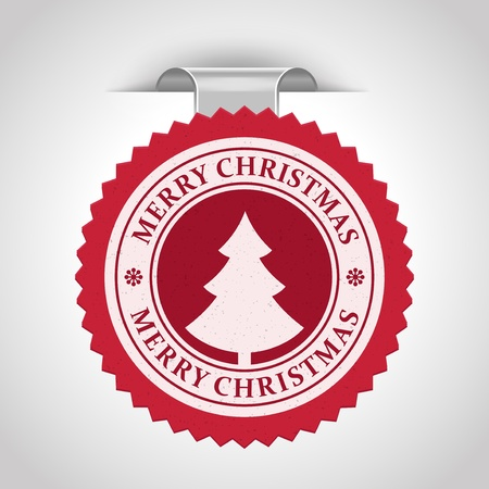 Christmas label with tree shape illustration Stock Vector - 11324244
