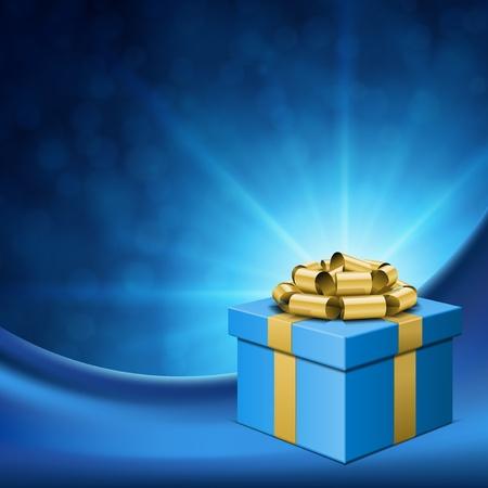 Caja de regalo con un lazo de oro y luz