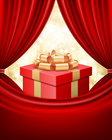 Gift box with ribbon and curtain Christmas background Vector