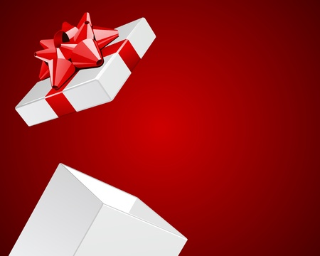 surprise party: Open gift box with red bow Valentine day background
