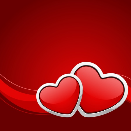 two hearts: Two red glossy heart Valentine day background