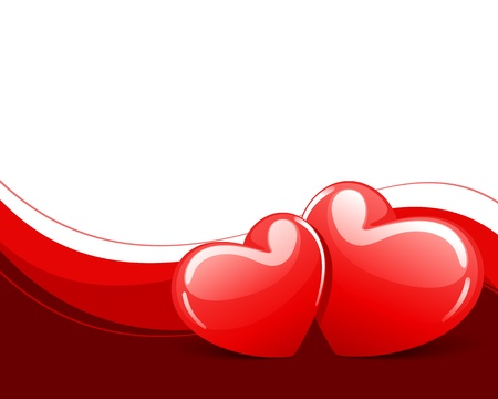 Two red hearts Valentine day background Stock Vector - 11324362