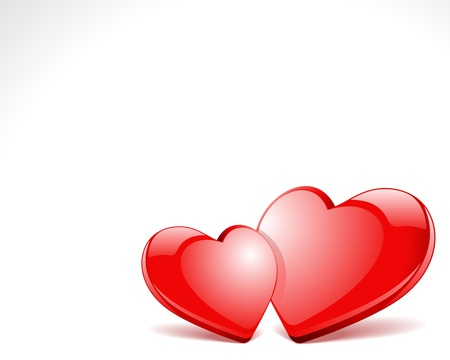 Two red glossy hearts illustration Vector