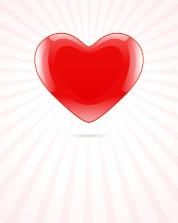 Heart red shiny Valentine day background Vector