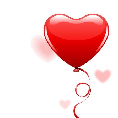 Corazón, como globo de aire con la cinta
