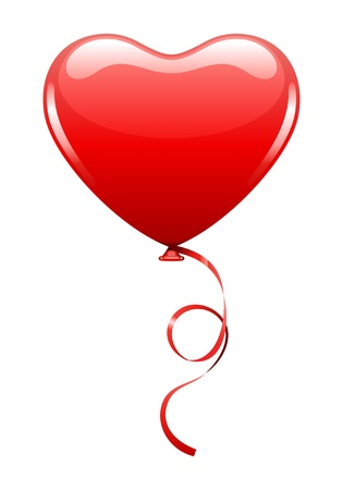 romantic heart: Heart as air balloon with ribbon