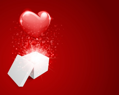 Open gift with flying hearts confetti  Vector