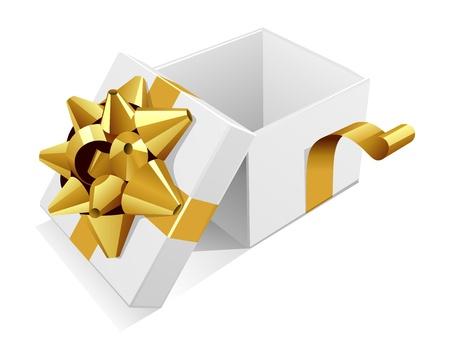 cadeaupapier: Witte open bruiloft of verjaardag cadeau doos met gouden boog Stock Illustratie