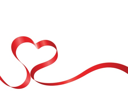 Valentine Day heart from red silk ribbon background  Ilustração