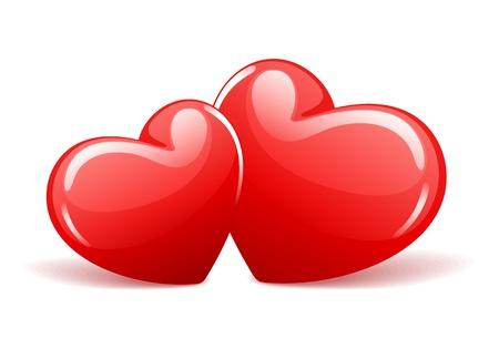 Dos corazones rojos brillantes en representación en perspectiva