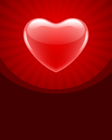 Red glossy heart  Valentine day background  Vector