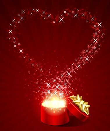 heiraten: Öffnen Geschenkbox mit fly Sterne Herzform