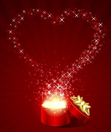 amour: Open gift box with fly stars heart shape
