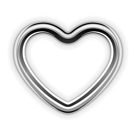 bodas de plata: Metal de plata en forma de corazón ilustración vectorial