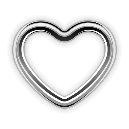 Silver metal heart shape vector illustration  Vector