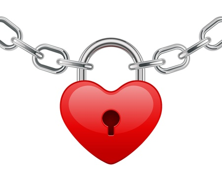 amour: Red shiny heart lock shape on chain vector illustration  Illustration