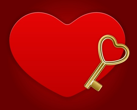 Key on heart card Valentine day vector background  Vector