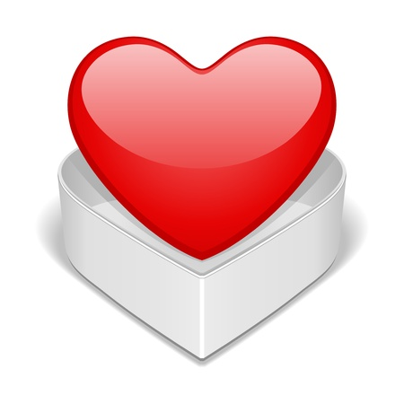 love heart: Open gift heart Valentine day vector illustration