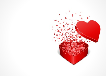 valentine: Heart gift present with fly hearts Valentine day vector background