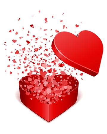 valentines card: Open gift present box with fly hearts Valentine day vector illustration  Illustration